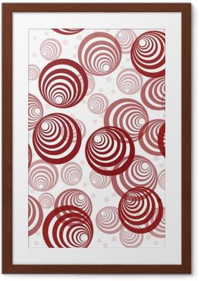 Poster en cadre Fond rétro avec des cercles rouges abstraites - Géométrique