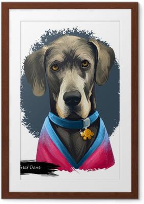 Poster en cadre Dogue allemand, dogge allemand, illustration de l'art numérique chien mastiff allemand isolé sur fond blanc. origine allemande en activité, chien de garde. portrait dessiné à la main pour animaux de compagnie. conception graphique clip art