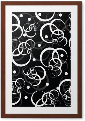 Poster en cadre Patterm avec des cercles blancs sur fond noir