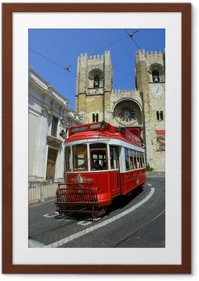 Gerahmtes Poster Lisbon roten Straßenbahn