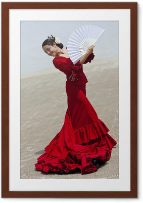 Çerçeveli Poster Fan ile Red Dress Geleneksel Kadın İspanyol Flamenko Dansçısı