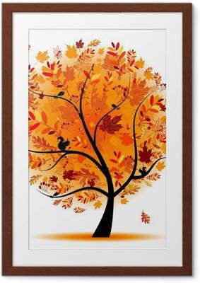 Poster i Ram Vackra hösten träd för din design