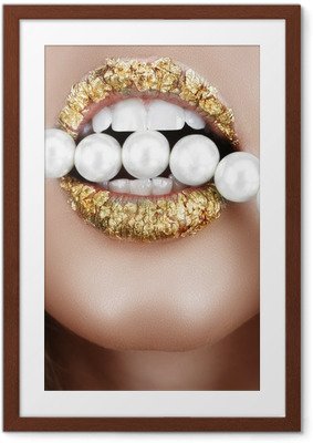 Póster com Moldura Gold leaf mouth with pearls