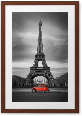Plakat w ramie Wieża Eiffla i czerwony-paris samochód