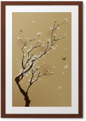 Poster en cadre Peinture de style oriental, fleur de prunier au printemps