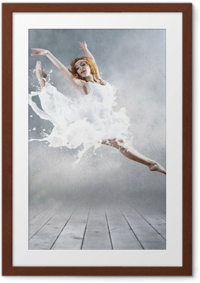 Jump of ballerina with dress of milk Framed Poster