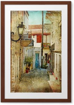 Poster en cadre Vieilles rues grecques et artistique image