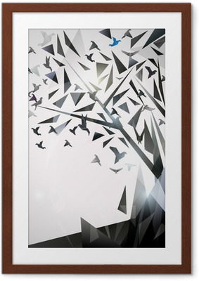 Poster i Ram Sammanfattning Träd med origamifåglar.