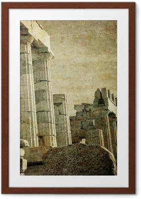 Ingelijste Poster Vintage beeld van Griekse zuilen, de Akropolis, Athene, Griekenland