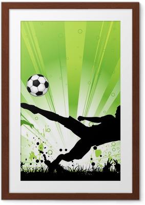 Poster en cadre Joueur de football sur le fond grunge -