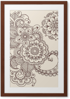 Poster in Cornice Henna Tattoo astratto Paisley Fiore Vector Doodles