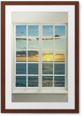 Plakát v rámu Moderní rezidenční okno s slunce nad mořem a mraky