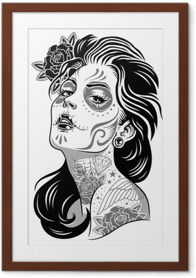 Gerahmtes Poster Black and White Day of Dead Girl Vector Illustration