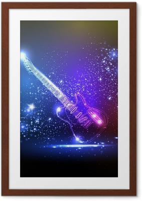 Póster Enmarcado Guitarra de la luz de neón, música grunge