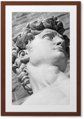 Poster i Ram Detalj av berömda italienska skulptur - David av Michelangelo, bl