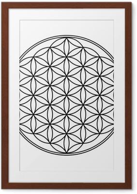 Póster Enmarcado Flor de la Vida símbolo blanco y negro 1
