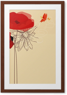 Póster com Moldura Floral invitation, poppies and butterfly vector