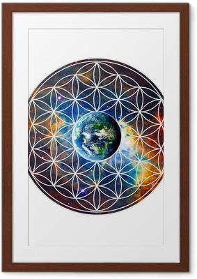 Poster en cadre Blume des Lebens - Erde - Heilige Geometrie - Sticker mural