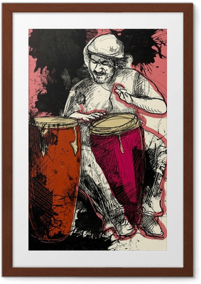 conga player - a hand drawn grunge illustration Framed Poster