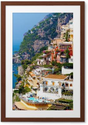 Poster i Ram Positano, Italien. Amalfikusten