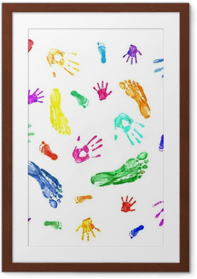 Colorful prints of painted hands and feet of family, mom, dad an Framed Poster