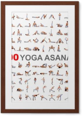 Poster en cadre 100 poses de yoga sur fond blanc