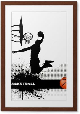 basketball match on grunge background Framed Poster