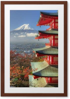Poster en cadre Mt. Fuji et feuilles d'automne à Arakura Sengen Shrine au Japon - Thèmes