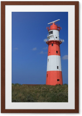 Gerahmtes Poster Leuchtturm Borkum hochkant