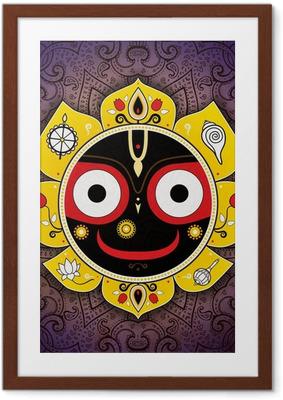 Ingelijste Poster Jagannath. Indiase God van het heelal. Lord Jagannatha.