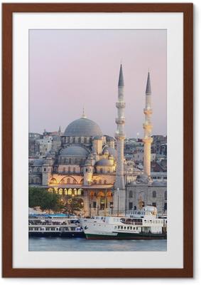 Çerçeveli Poster İstanbul'da Yeni cami.