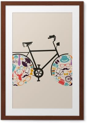 Ingelijste Poster Vintage hipsters pictogrammen fiets.