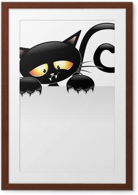 Póster Enmarcado Dibujos animados del gato negro con el Grupo de Gatto nero estafa Pannello