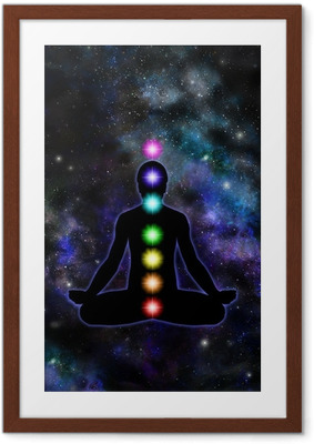 Chakra Meditation on Space Background Framed Poster