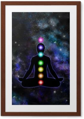Poster en cadre Chakra Meditation sur fond de l'espace
