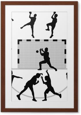 Poster i Ram Handboll silhuett vektor