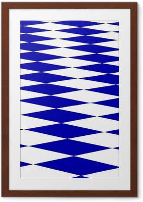 Póster Enmarcado Azul tablero de ajedrez