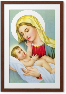 GOD JESUS WITH MOTHER MARRY Framed Poster