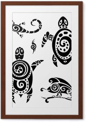 Gerahmtes Poster Turtle. Tribal Tattoo-Set.