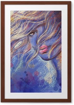 Innrammet plakat Vakker dame. akvarell illustrasjon