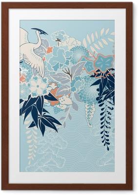 Ingelijste Poster Japanse kimono motief met kraan en bloemen