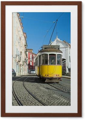 Gerahmtes Poster Lissabon-Tram-Gelb - Zeile 28
