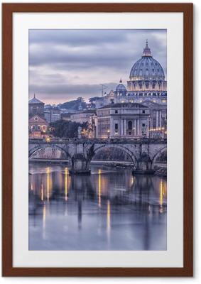 Poster en cadre Rome et le Tibre au crépuscule