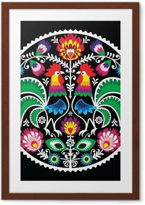 Poster in Cornice Ricami floreali polacco galli - folk tradizionale