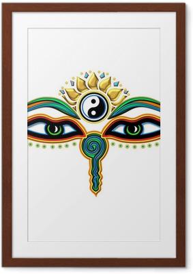Buddha Augen Yin Yang Framed Poster