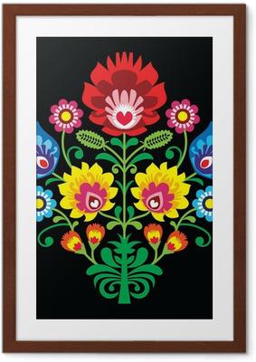 Poster in Cornice Ricamo popolare polacca con fiori - modello tradizionale