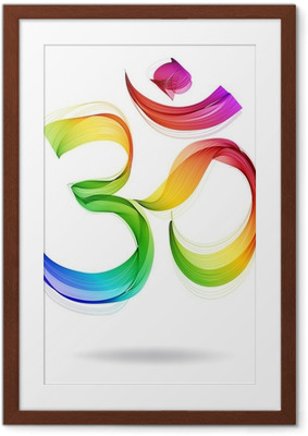 Abstract colorful OM sign over white Framed Poster