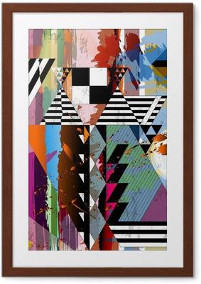 Poster en cadre Fond abstrait, avec des traits, des taches, des rayures et triangl
