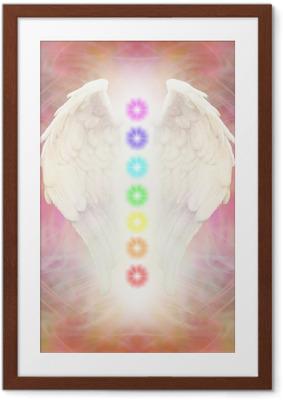 Poster en cadre Reiki ailes d'ange et de sept Chakras