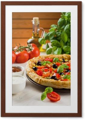 Pizza puupöydässä Kehystetty juliste